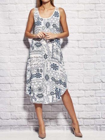 Sukienka letnia w etniczne wzory biała