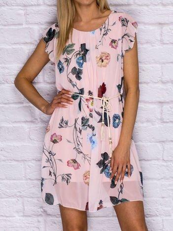 Sukienka letnia w kwiaty z wiązaniem różowa
