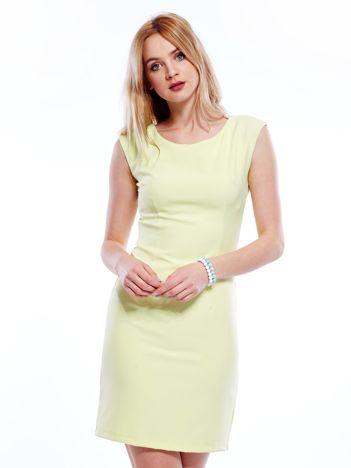 Sukienka limonkowa z wiązaniem z tyłu