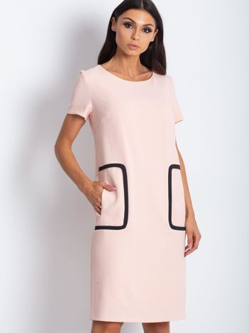 Sukienka łososiowa z kieszeniami