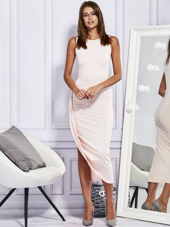 Sukienka maxi z drapowaniem jasnoróżowa