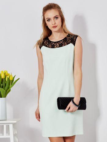 Sukienka miętowa z koronkową górą