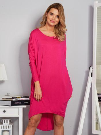 Sukienka oversize z dłuższym tyłem malinowa