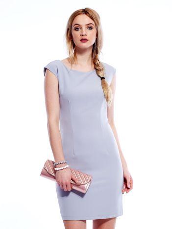 Sukienka szara z wiązaniem z tyłu
