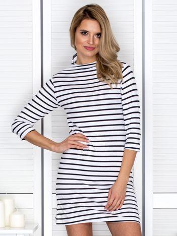 Sukienka w paski z suwakiem biało-czarna