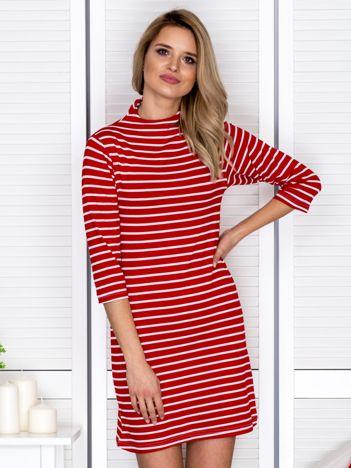 Sukienka w paski z suwakiem czerwona