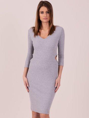 Sukienka z bocznymi wycięciami jasnoszara