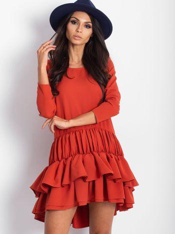 Sukienka z falbankami pomarańczowa