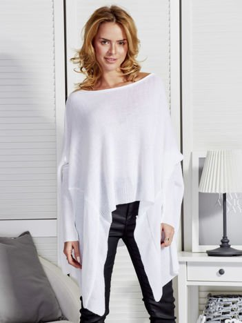 Sweter damski z dłuższymi połami biały