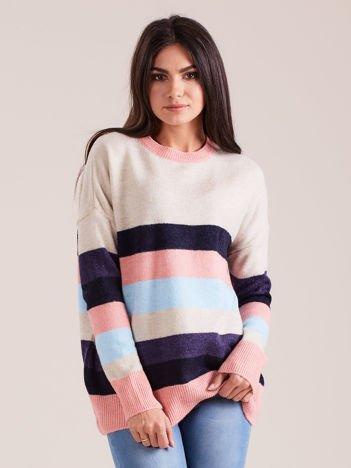 Sweter damski z motywem pasków beżowy