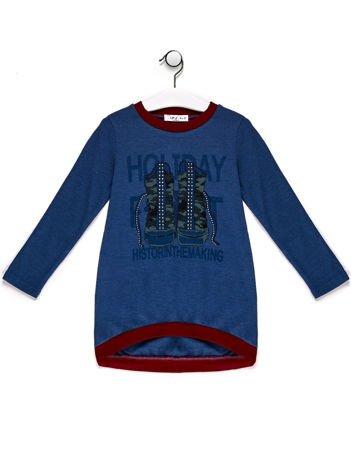 Sweter dla dziewczynki z nadrukiem moro niebieski