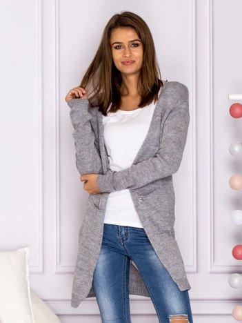 Sweter kardigan bez zapięcia z ażurowym tyłem szary