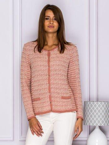 Sweter kardigan w paski na guziki różowy