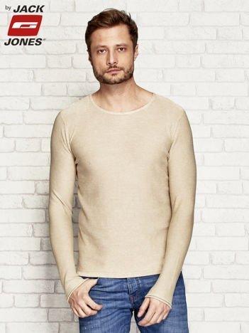Sweter męski z surowym wykończeniem beżowy