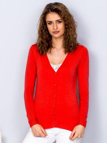 Sweter pomarańczowy na guziki