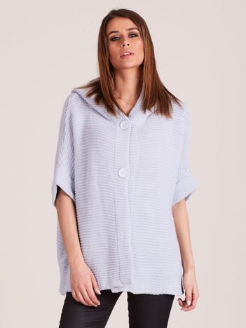 Sweter z kapturem i guzikami niebieski