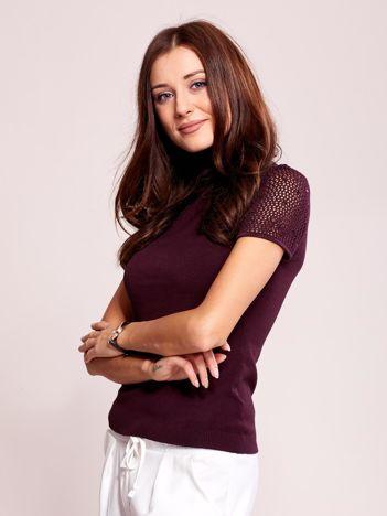 Sweter z krótkim rękawem fioletowy