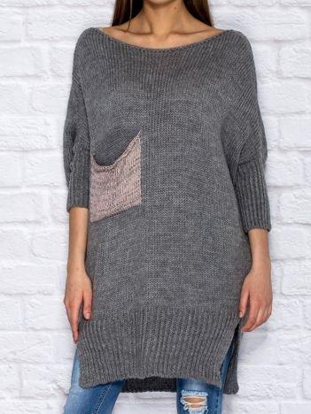Sweter z wycięciem i wstążką ciemnoszary