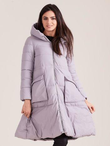 Szara asymetryczna kurtka zimowa