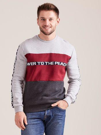 Szara bawełniana bluza męska z napisami
