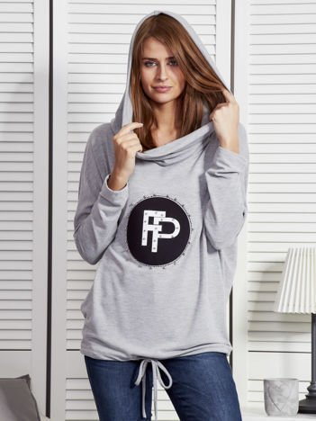 Szara bluza damska z aplikacją i ściągaczem na dole