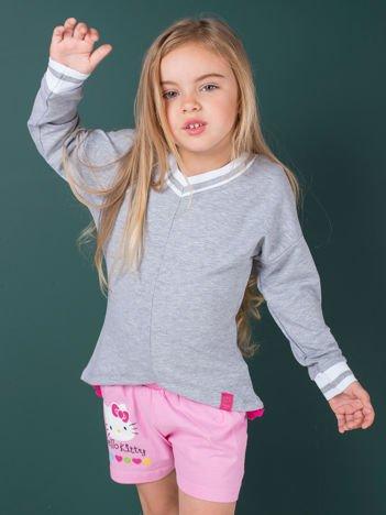 Szara bluza dla dziewczynki z trójkątnym dekoltem