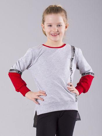 Szara bluza dziewczęca z aplikacją i napisami