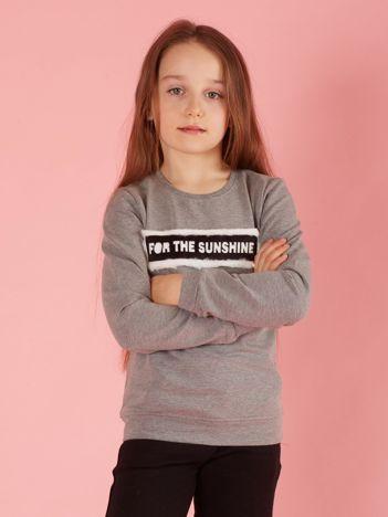 Szara bluza dziewczęca z futrzaną aplikacją