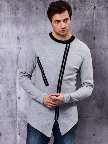 Szara bluza męska z asymetrycznymi suwakami