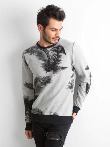 Szara bluza męska z motywami roślinnymi