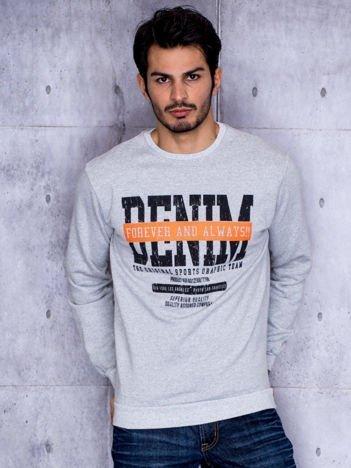 Szara bluza męska z printem w amerykańskim stylu