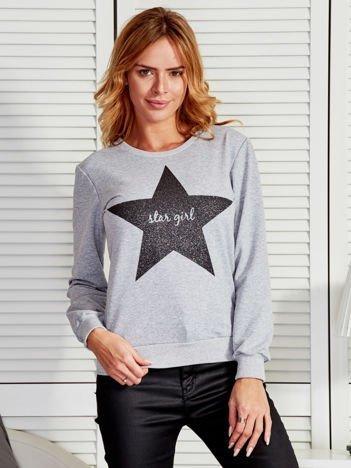 Szara bluza z brokatową gwiazdą