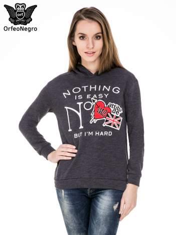 Szara bluza z kapturem i napisem NOTHING IS EASY