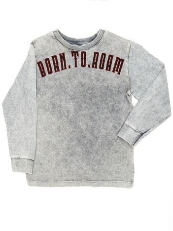 Szara bluzka chłopięca z nadrukiem z obu stron