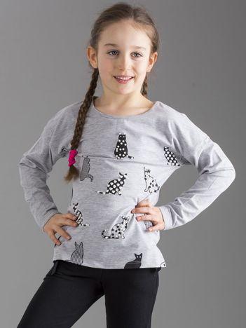 Szara bluzka dla dziewczynki w koty