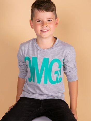 Szara bluzka dla dziewczynki z napisem OMG