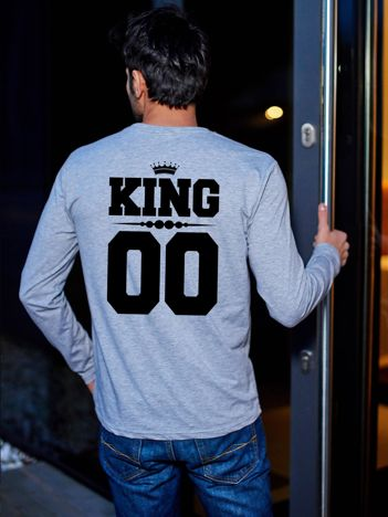 Szara bluzka męska z nadrukiem na plecach KING dla par