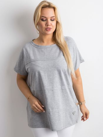 Szara bluzka plus size z aplikacją