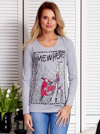 Szara bluzka z rysunkowym printem