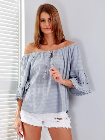 Szara bluzka z szerokimi rękawami i troczkami