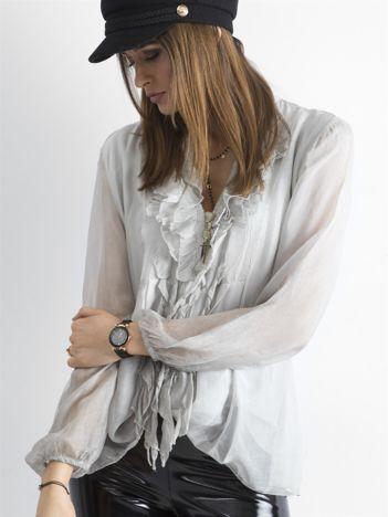 Szara bluzka z żabotem