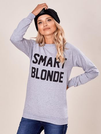 Szara dresowa bluza damska z napisem