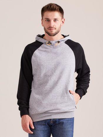 Szara dresowa bluza męska z kapturem