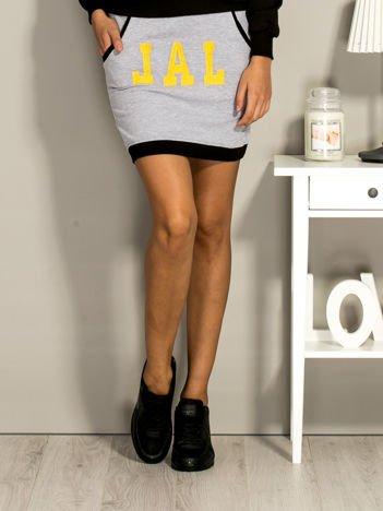 Szara dresowa spódnica