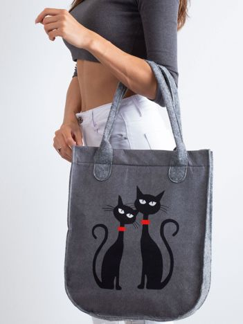 Szara filcowa torba z kotami