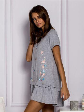 Szara haftowana sukienka dresowa