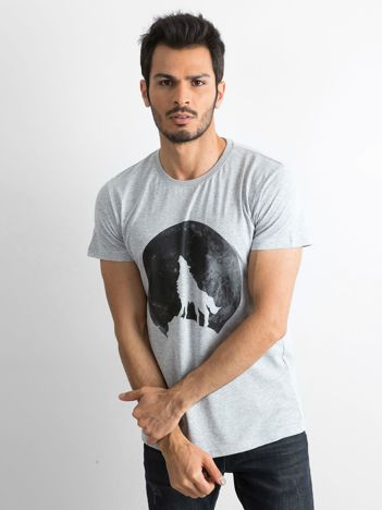 Szara koszulka męska z nadrukiem