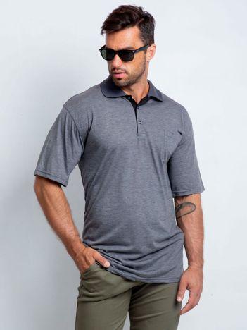 Szara koszulka polo męska plus size Deemed