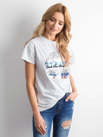 Szara koszulka z cekinami