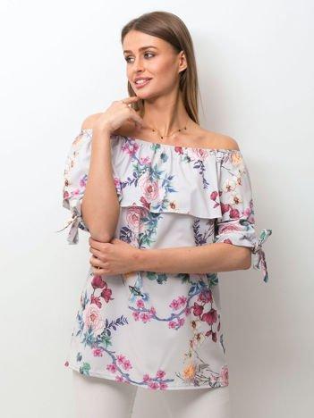 Szara kwiatowa bluzka hiszpanka